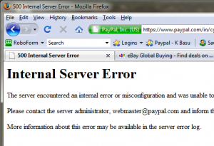 Internal Server Error / Website Busy