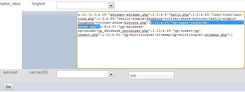 2 - Menonaktifkan Plugin WordPress lewat Phpmyadmin