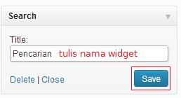 tulisnamadansave - Menambah Widget di WordPress