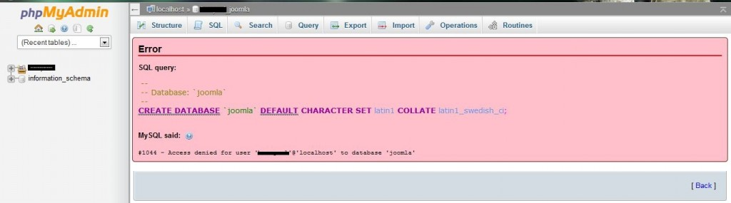 "Capture - Problem Error "" #1044"" Saat Upload Database ke PHP My Admin"
