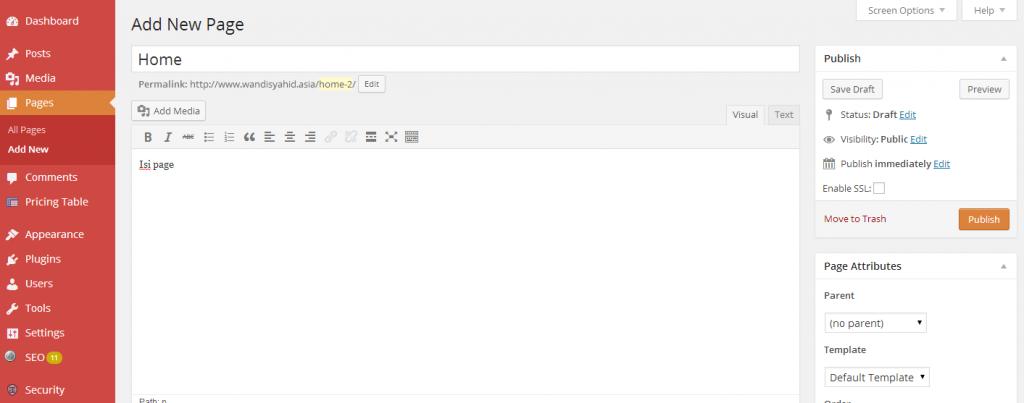 Page wordpress 2 - Merubah salah satu page menjadi halaman / page utama di CMS WordPress