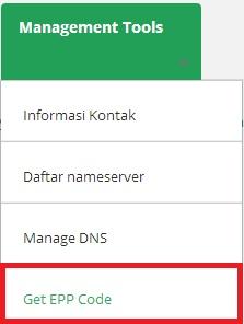 getepp -  Manage Nameserver, Informasi Kontak Domain dan EPP Key di Portal.Qwords.com