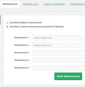 ubahnameserver -  Manage Nameserver, Informasi Kontak Domain dan EPP Key di Portal.Qwords.com