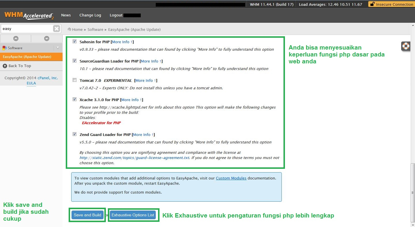 EasyApacheCompile5 -  Tutorial Compile Apache PHP melalui EasyApache di cPanel WHM