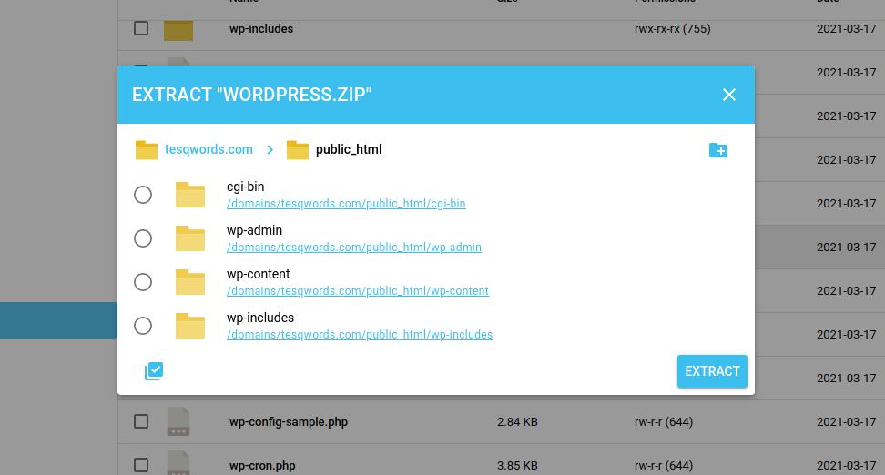 Extract WordPress Zip